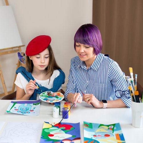 """Tapybos pamokos vaikams """"Išmok tapyti"""""""