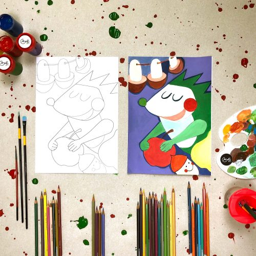 """Tapybos pamokos vaikams """"Išmok tapyti"""": Ežiukas"""
