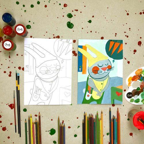 """Tapybos pamokos vaikams """"Išmok tapyti"""": Išalkęs zuikis eina miegoti"""