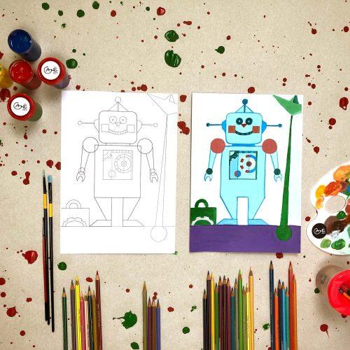 """Tapybos pamokos vaikams """"Išmok tapyti"""": Robotukas"""